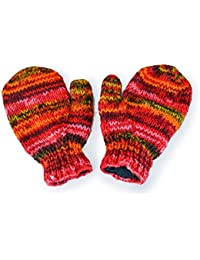 Fairtrade Gringo Knitted Spacedye Wool Fleece Lined Mittens Gloves Made In Nepal