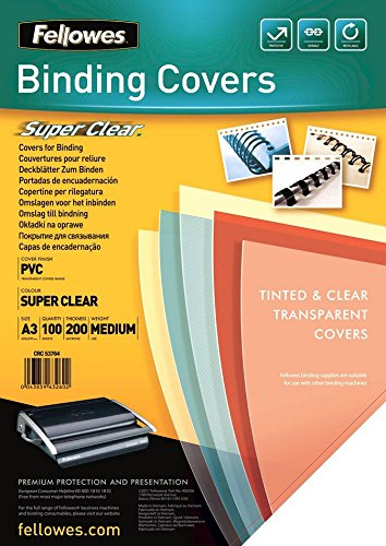 Fellowes 53764 PVC Deckblätter, A3, 200 Mikron, transparent, 100er Pack