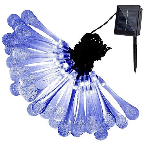 elegantstunning SolarSchnur-Lichter im Freien, 21ft 30 LED-Wasser-Tropfen-angetriebene feenhafte Lichter, 8 Modi imprägniern Weihnachtslicht für Garten, Patio, Yard, Haus, Parteien