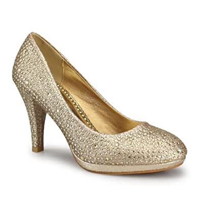 Plateau Pumps Party Schuh Ladies Night gold 41