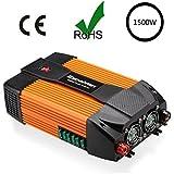 Excelvan 1500W Convertisseur/Onduleur de Voiture 12V Courant Continu Vers 220V~230V Courant Alternatif - USB Port et AC Prise