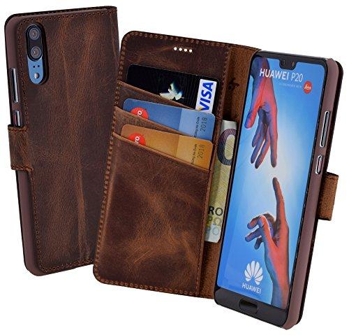 Suncase Huawei P20 Book-Style (Slim-Fit) Ledertasche Leder Tasche Handytasche Schutzhülle Case Hülle (mit Standfunktion und Kartenfach) Antik Coffee (Antik Leder)