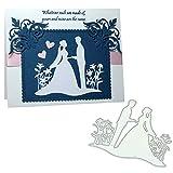 AchidistviQ Braut Bräutigam Hochzeit Stencil DIY Scrapbook Album Papierkarte Metallschneiden stirbt Silver