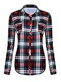 Damen Karierte Blusen Langarmhemd Karierte Bluse Plaid Shirt (M, #6)