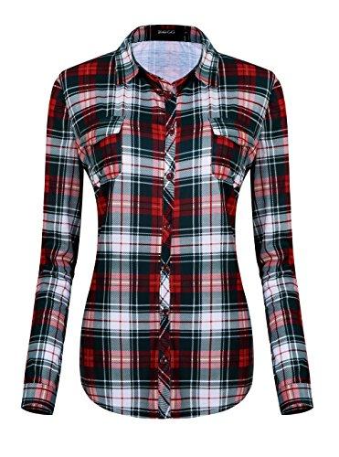 Damen Karierte Blusen Langarmhemd Karierte Bluse Plaid Shirt (L, #6) -
