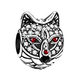Soufeel Damen Fashion Charms Beads Anhänger Tier Serie Wolf Würdig 925 Sterling Silber Schmuck mit Swarovski Kristalle für Armbände und Kette Geburtstag Geschenk für Frauen Mutter Freundin
