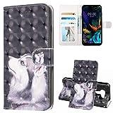 TASoker Handyhülle für LG K50 Hülle Premium Leder 3D Flip Schutzhülle Tasche Bookstyle Brieftasche Schutzhülle Handytasche Magnetisch Kartenfach Ständer Etui Hund