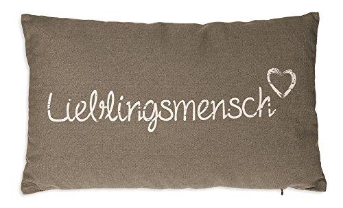 Haus und Deko Lieblingsmensch Kissen Bezug 30x50 cm Baumwolle Kissenhülle Baumwolle Dekokissen Taupe mit Beige