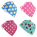 Baby Dribble Bib Super Absorbent Premium Bandana Adjustable Poppers (4 Pack Gift Set) ~ Multi-Award Winning ~ UK Family Company On Amazon Since 2012 - Fit Newborn to Toddler, (Funky Brights)