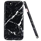 iPhone 7 Hülle, JIAXIUFEN Schwarz Marmor Serie Flexible TPU Silikon Schutz Handy Hülle Handytasche HandyHülle Etui Schale Case Cover Tasche Schutzhülle für iPhone 7