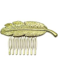Elite Models (France) Prestige Series Side And Back Comb, Back Hairpin, Hair Ornament Pin For Women ( Gold ) | Latest Designs Imported Party Wear Girls Accessories, Designer Decoration Clips, New Style Grips, Jewelry Pins To Tie Up Long or Short Hairs