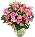 Clare Florist Pink Rosmeria Roses and Alstroemeria Fresh Flower Bouquet