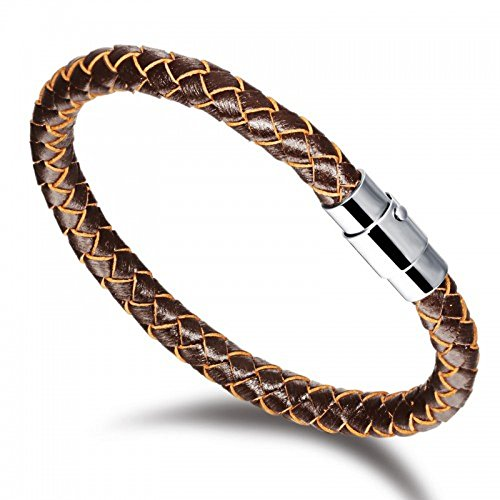 personalised-brown-leather-bracelet-with-magnetic-stainless-steel-buckle-fastener-200mm