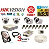 Hikvision 4 Ch Turbo HD Dvr & Mersk Full HD (3MP) CCTV Camera Kit with All Required Accessories (2 TB Hard Disk) Note : No Installation Service
