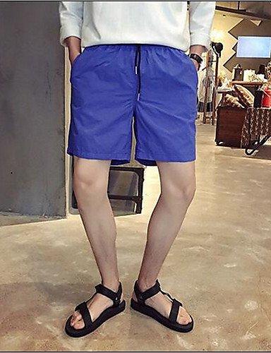 Da uomo Dritto Pantaloncini Pantaloni-Semplice Casual Tinta unita A vita medio-alta A cordoncino / Elasticità Poliestere Micro-elastico Blue