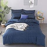 Bettbezug Set Quadratischer Gitterstreifen 3 Stück Super Weiche und Angenehme Mikrofaser Einfache Bettwäsche Gemütlich Enthalten & Kissenbezug Betten Schlafzimmer