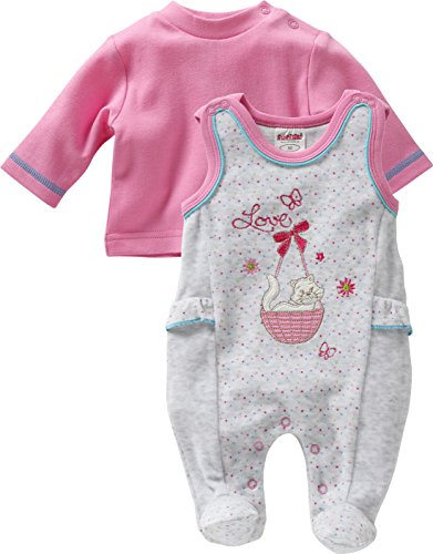 Schnizler Baby - Mädchen Strampler Set Nicki, Love, 2 - tlg. mit Langarmshirt, Oeko - Tex Standard 100, Gr. 56, Grau (grau/melange 37)
