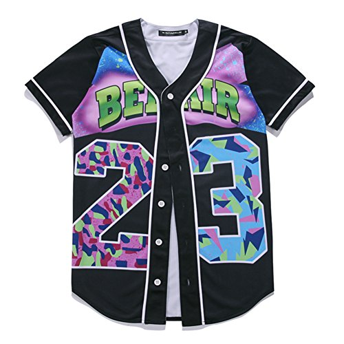 Yonbii Herren Unisex 3D Digital Print Casual Baseball Jersey Tops Open T-Shirts Strickjacken F