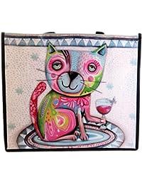 Bolsa de compras de diseño Allen Designs(vino gato)- 46x40x19 cm