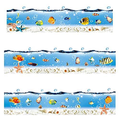 WandSticker4U- Fliesenaufkleber Unterwasserwelt IV blau I Länge 2.6 M I Bordüre Badewanne Wandtattoo Wand-aufkleber Folie Ozean Meer Seestern Fische Muscheln I Deko für Badezimmer Kinderzimmer Kinder