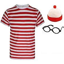 Señoras Mens Wheres Nerd Geek rojo y blanco rayas disfraz infantil de más fresco libro día 3& 4piezas