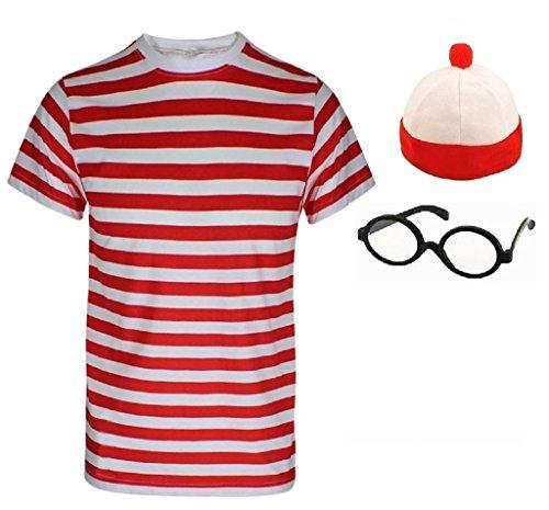 Damen Herren Wheres Nerd Geek Rot & Weiß Gestreift Fancy Kleid Frischer Kostüm Buch Tag 3& 4Stück Set Gr. Herren M, Mens T-Shirt+Hat+Glasses (Wheres Wally Kostüm Kostüm)