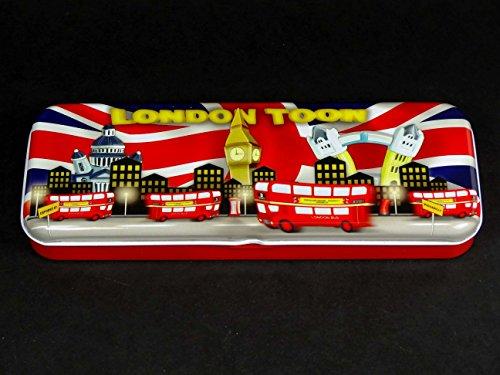 Recuerdo Caja de lápiz-Londres Toon diseño, un dibujos animados Skyline de la ciudad, hecho de estaño