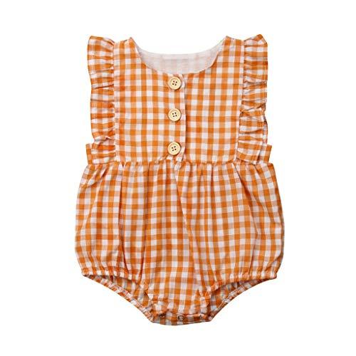 (squarex Kleinkind Neugeborenes Baby Mädchen ärmelloses Karo Bedruckte Oberteile Bodysuit Strampler Nette und Bequeme Freizeitkleidung)