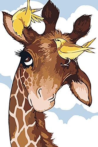 Neue Version 3.0 HD DIY ölgemälde Malen nach Zahlen Neuerscheinungen Neuheiten - DIY Gemälde durch Zahlen, Malen nach Zahlen Kits digitales Ölgemälde-Giraffe (Mit Rahmen) Vintage-sonnenblume-dekor