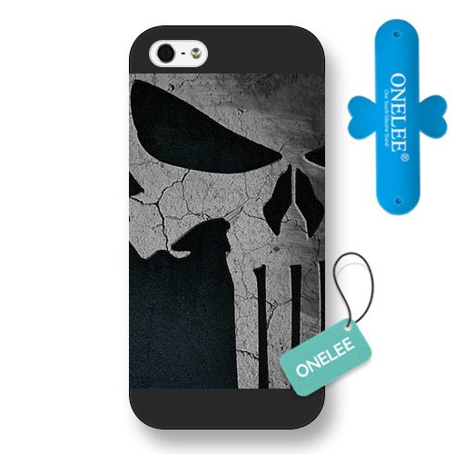 Onelee Customized Marvel Series Case for iPhone 5 5S, Marvel Comic Hero The Punisher Logo iPhone 5 5S Case, Only Fit for Apple iPhone 5 5S (Black Frosted Case)
