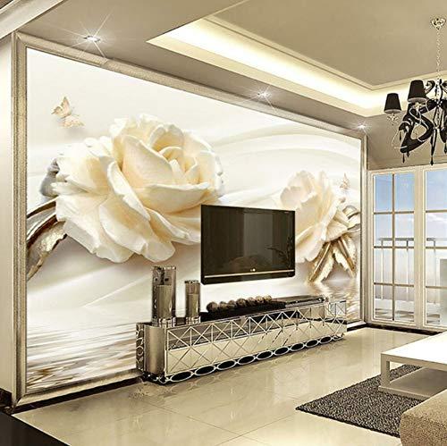 Benutzerdefinierte Tapete 3D Blume Champagner Rosa Moderne Romantische Wohnzimmer Tv Hintergrund Wandbild Vliestapete Home Decoration(W)200X(H)140Cm -