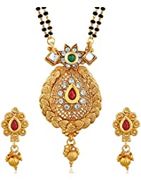 PALASH Ethnic Gold Plated Mangalsutra With Multi-Color Stones For Women