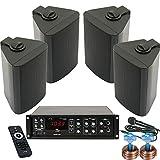 etc-shop Wartezimmer Büroraum PA Anlage USB Bluetooth Verstärker 4X Boxen schwarz DJ-Business 4