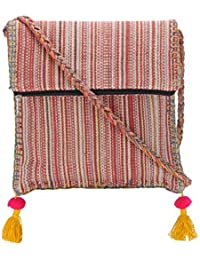 The House Of Tara Boho Chick Crossbody Bag In Handloom Fabric HTCB 045