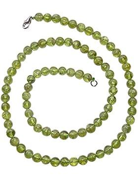 Peridot / Olivin Kette Kugel Ø 6 mm Länge 45 cm mit 925er Silber Verschluss schöne klare grüne Farbe.(3864)