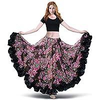 ROYAL SMEELA Falda de Gasa para Mujer Falda Maxi Full Voile Estilo Tribal Faldas de Flamenco Vestido Bohemio 360/720 Grados Vestidos de Traje de Baile Floral clásico