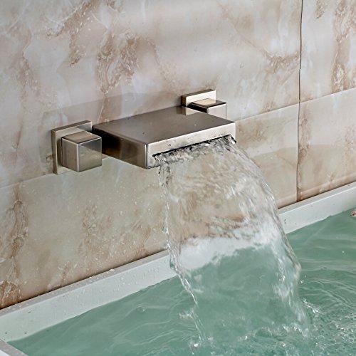 Piazza TougMoo stile di cascata Dual gestisce nichel spazzolato il lavandino del bagno Vasca rubinetto montato a