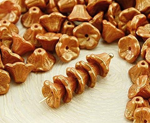 40pcs Gold Glanz Bernstein-Gelb Gold Matt Pearl Kleine Glocke Blume Caps Tschechische Glasperlen, 5mm x 7mm