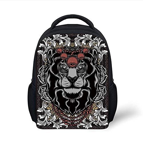 Kids School Backpack King,Forest Jungle Emperor Safari Animal Lion with Medieval Design Frame Print Decorative,Grey White Coral Black Plain Bookbag Travel Daypack
