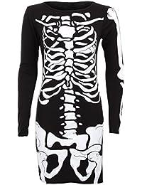 Manches longues pour femmes os du crâne Squelette Imprimer Robe moulante courte