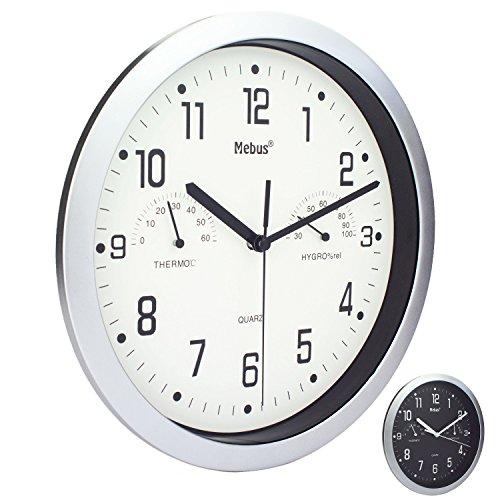 Wanduhr von Mebus mit Thermometer und Hygrometer Küchenuhr Schwarz Silber 25cm - Batterie Wanduhren