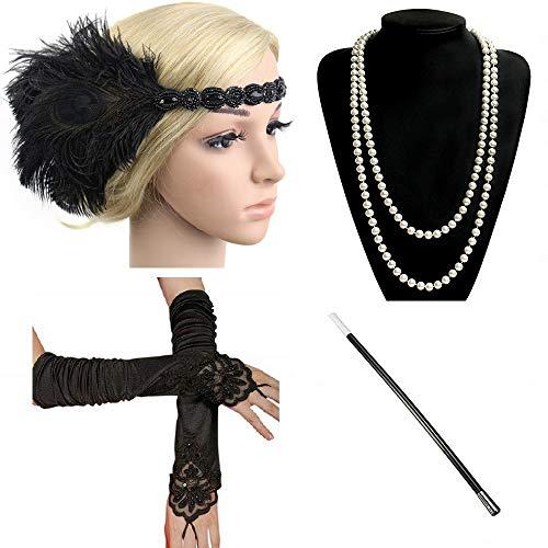 Ebeta 1920er Jahre Zubehör Set Flapper Set Damen Gatsby Kostüm Accessoires Set Stirnband Halskette Handschuhe Zigarettenhalter (1920er Themed Kostüm)