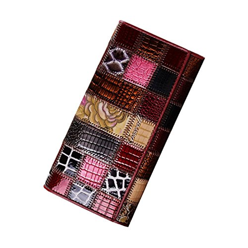 ALAIX donna Portafoglio multifunzionale in vera pelle con portafoglio grande capacità con borsa tascabile con cerniera