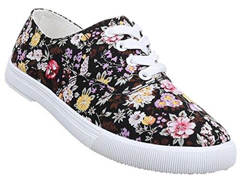 Damen Sneaker Schuhe Freizeitschuhe Schnürer Halbschuhe Schwarz Weiss Braun Multi 36 37 38 39 40 41 Schwarz Multi