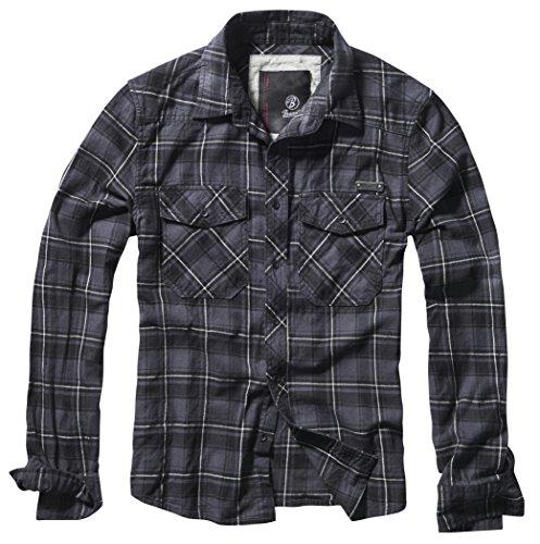 Brandit Check Shirt Grau/Schwarz/Weiß 5XL - Herren Arbeitshemd Aus Denim