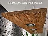 Deckenlampe Hängelampe Pendelleuchte Holz mit LED´s GU10 Hängeleuchte Shabby (Nussbaum, strukturiert, lackiert, 100cm mit 3 Spots)