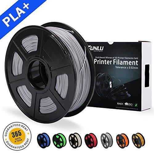 SUNLU 3D Drucker Filament PLA Plus Grau, PLA Plus Filament 1,75 mm, geringer Geruch Dimensionsgenauigkeit +/- 0,02 mm 3D Druck Filament, 2,2 LBS (1kg) Spule 3D Drucker Filament für 3D Drucker & 3D Stifte, grau