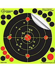 """25 Pack - 8"""" """"Stick & Splatter"""" - Adhesive SPLATTERBURST Shooting Targets - Instantly See Your Shots Burst Bright Fluorescent Yellow Upon Impact - Great for all firearms, rifles, pistols, AirSoft, BB & Pellet guns!"""