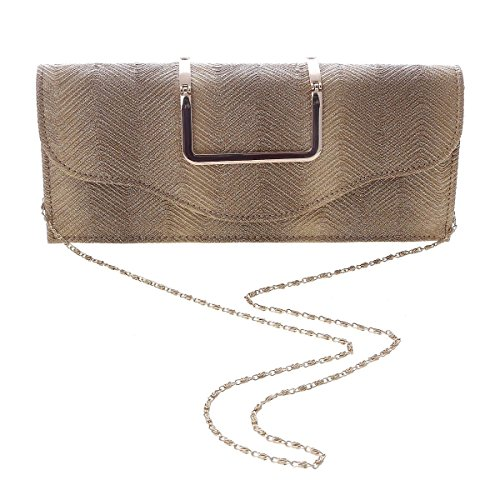 Damara® Elegante Da Donna In Metallo Con Grosso Guscio Rigido In Oro Monocromo
