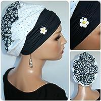Beanie Mütze Ballonmütze Jeans Punkte Blumen mit Band little things in life Chemo Cap Hat Chemomütze Mütze bei Krebs Kopfbedeckung Turban